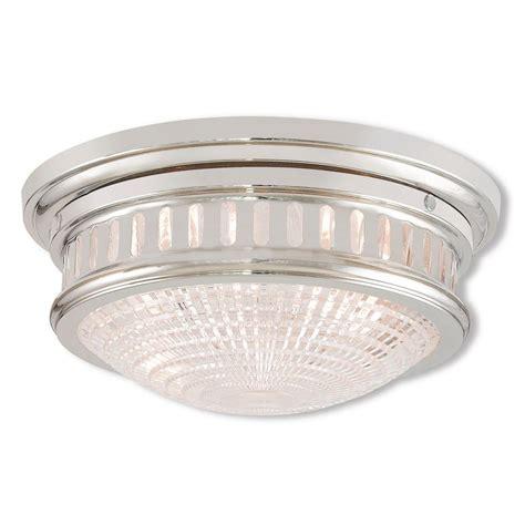 polished nickel flush mount ceiling light livex lighting berwick 2 light polished nickel flushmount