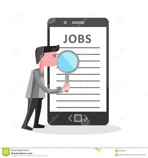 Find Looking For Work Search On Mobile Phone Illustration Stock