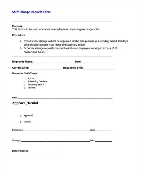 Change Shift by Printable Change Form
