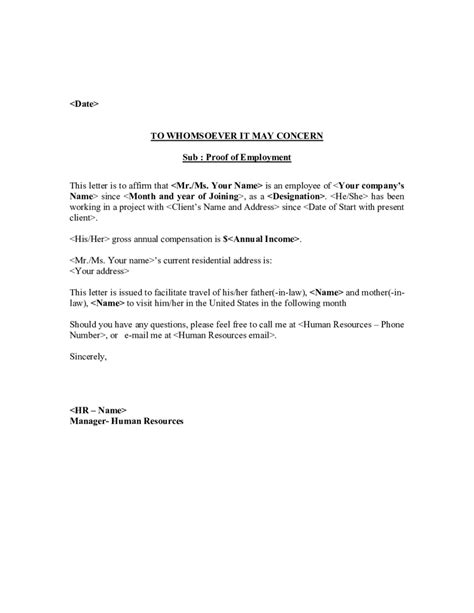 Letters 8 Proof Of Employment Letter Template Create