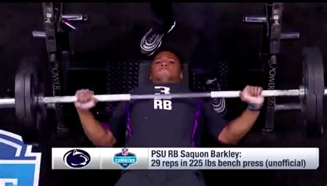 most bench press reps at nfl combine watch saquon barkley puts up 29 bench press reps at nfl