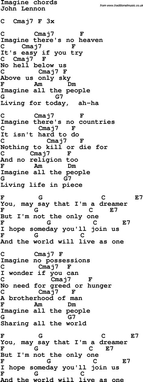 printable lyrics imagine song lyrics with guitar chords for imagine john lennon