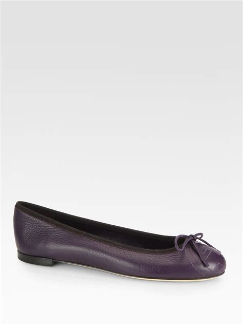 Flat Shoes Gucci Import 1 gucci gg embroidered leather ballet flats in purple lyst