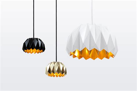Origami Light Fixture - ori inspired by origami painted brass light fixture by