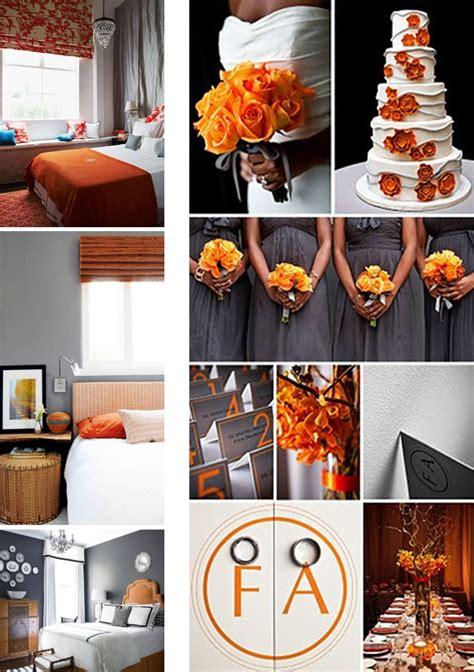 grey and orange wedding theme velvet palette
