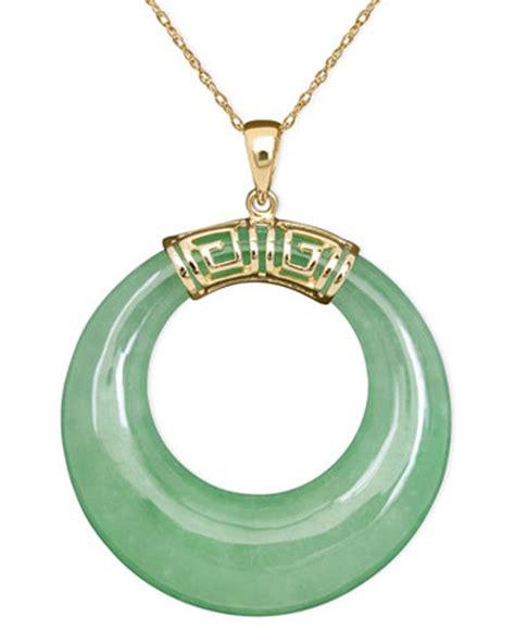 10k gold necklace jade circle pendant necklaces