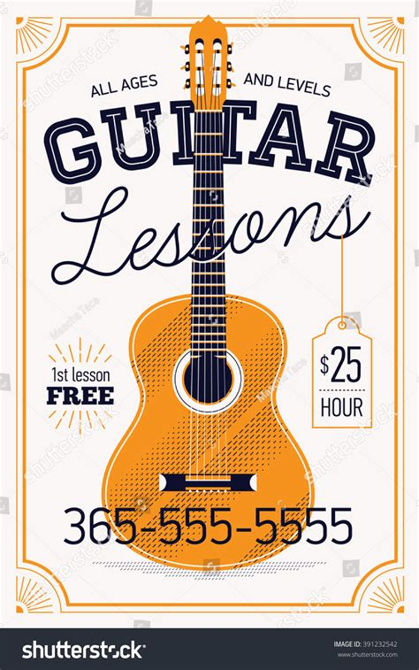 Royalty Free Guitar Lessons Vector Poster Or Banner 391232542 Stock Photo Avopix Com Guitar Lesson Flyer Template