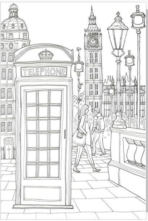 london phone booth adult colouring buildings houses