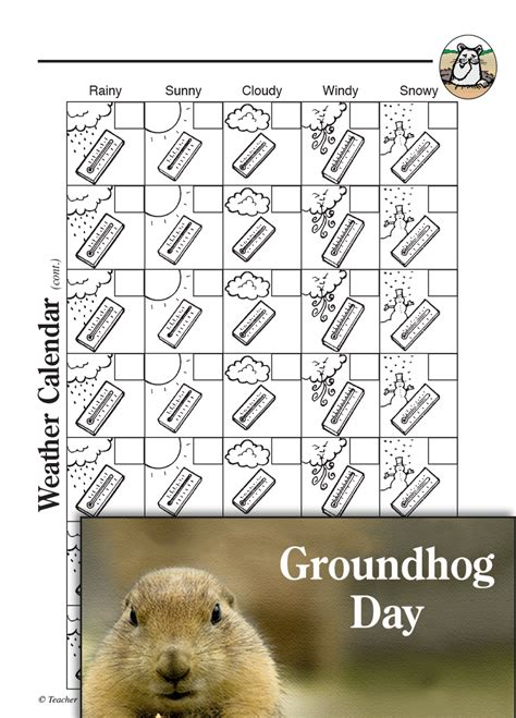 groundhog day calendar groundhog day activities weather calendar teachers
