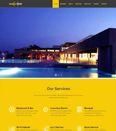 bootstrap templates for hotel free download golden hotel website template free download webthemez