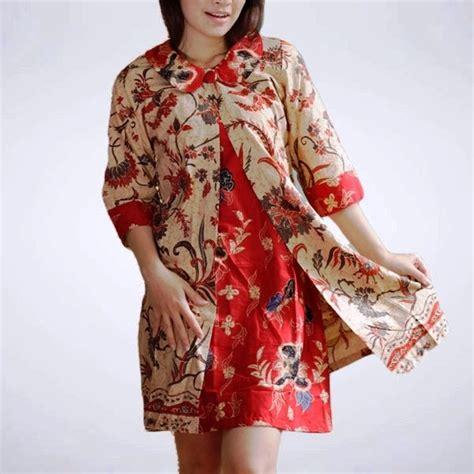 Dress Terusan Gaun Batik Wanita Modern Lengan Panjang 52 model baju gamis batik terbaru populer 2018 model