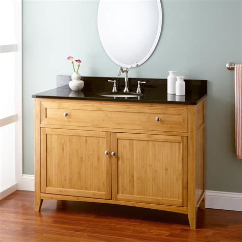 48 Quot Narrow Depth Halifax Bamboo Vanity For Undermount Sink