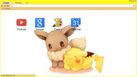 chrome theme pikachu pikachu and eevee chrome theme themebeta