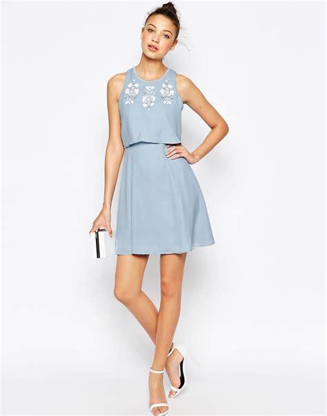 Top Dress lyst asos embellished crop top skater dress in blue