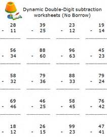two digits number subtraction math worksheets free