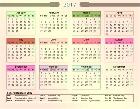 2017 Calendar With Holidays Printable Federal Calendar 2017 With Holidays 2017 Calendar