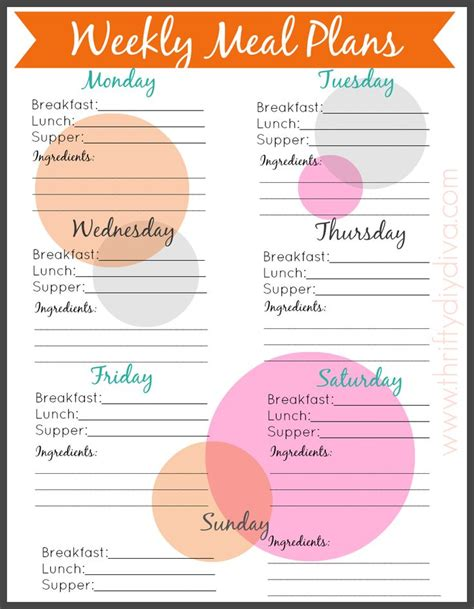 free editable monthly menu planner planners meals and pdf