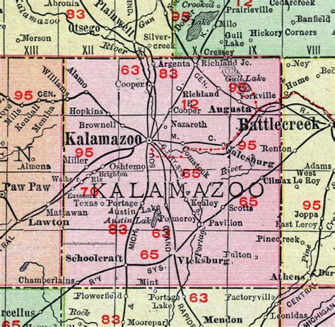 Kalamazoo County Search Kalamazoo County Michigan 1911 Map Rand Mcnally Comstock Portage Galesburg
