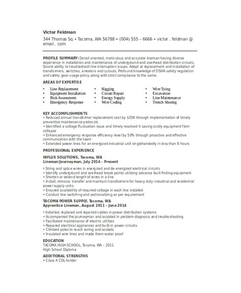 Sle Resume Electrical Lineman Lineman Resume Template 6 Free Word Documents Free Premium Templates