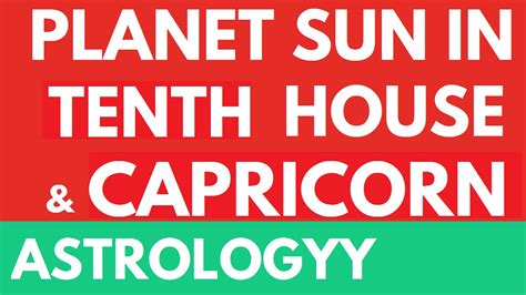 sun in 10th house sun in tenth 10th house and capricorn in vedic astroloy astrologyy youtube