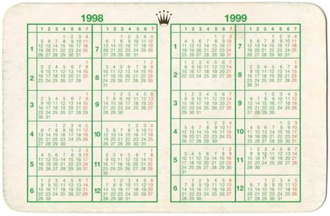 Calendario De 1999 1998 1999 Vintage Rolex Calendar Calendario Gmt Daytona Ebay