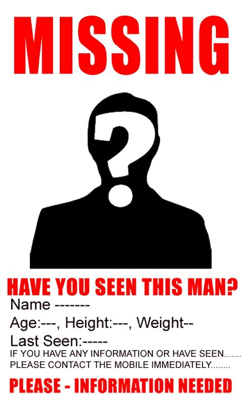missing person template missing poster android apps on play