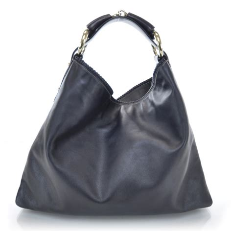 Gucci Chain Large Hobo by Gucci Leather Large Horsebit Chain Hobo Black