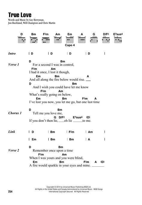 True Love by Coldplay - Guitar Chords/Lyrics - Guitar