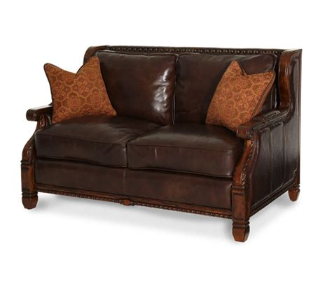Leather Sofa With Wood Trim Michael Amini Court Vintage Fruitwood Finish Wood Trim Leather Fabric Sofa Set By Aico