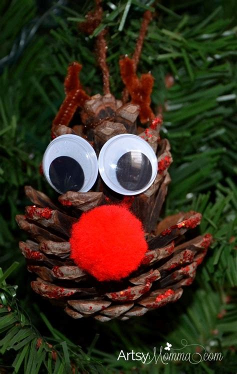 rudolph pinecone ornament craft for kids artsy momma