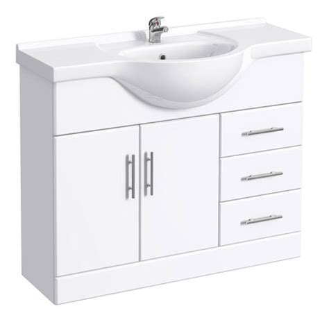 White Bathroom Vanity Units by Alaska High Gloss White Vanity Unit With Ceramic Basin
