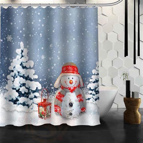 christmas bathroom curtains christmas snowman custom made unique bath waterproof
