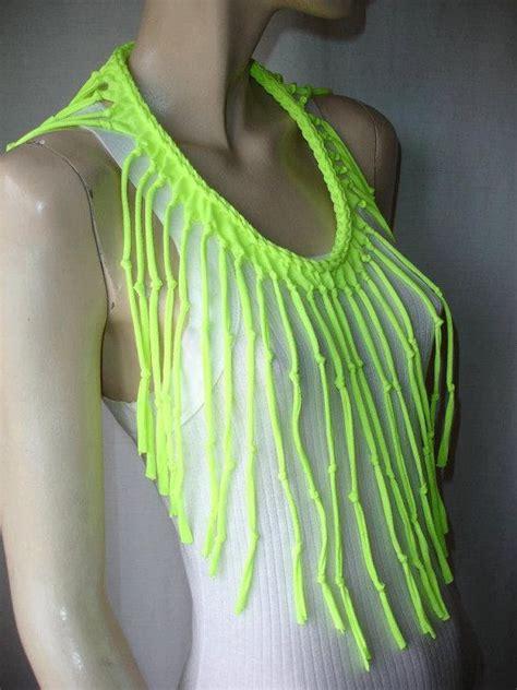 Diy Ideas neon yellow tshirt scarf shredded braided fringe