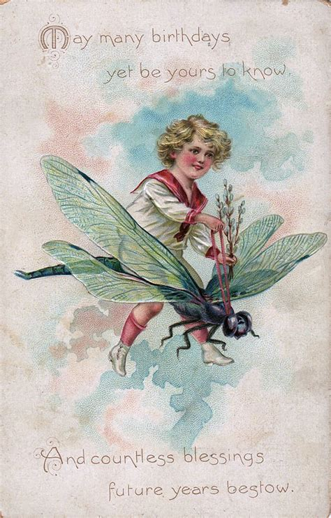 vintage clip art boy riding dragonfly  graphics fairy