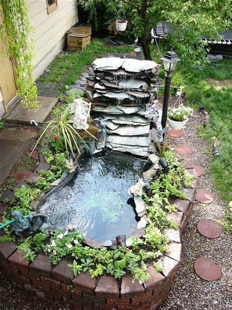 backyard pond ideas with waterfall waterfall fountian idea with a small yard pond diy