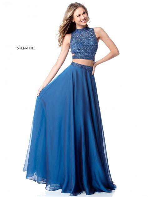 sherri hill  sparkly jeweled crop top prom dress