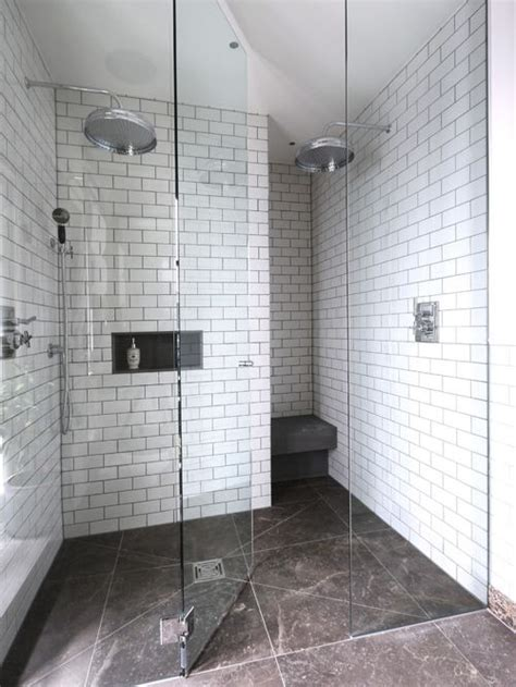 white subway tile walk in shower white subway tile grey grout home design ideas pictures