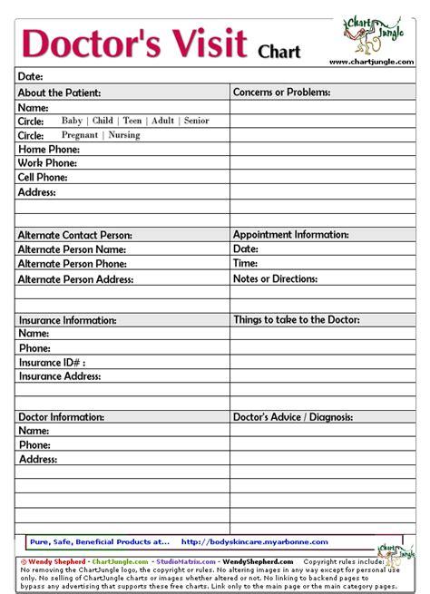 Doctor S Visit Chart Printable Household Planner Organizing Binder Printables Pinterest Doctor Visit Form Template