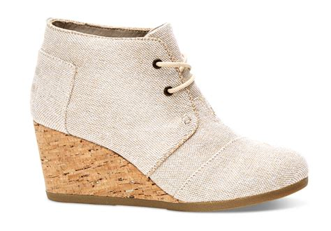 toms high heel wedges metallic linen s desert wedge booties toms 174