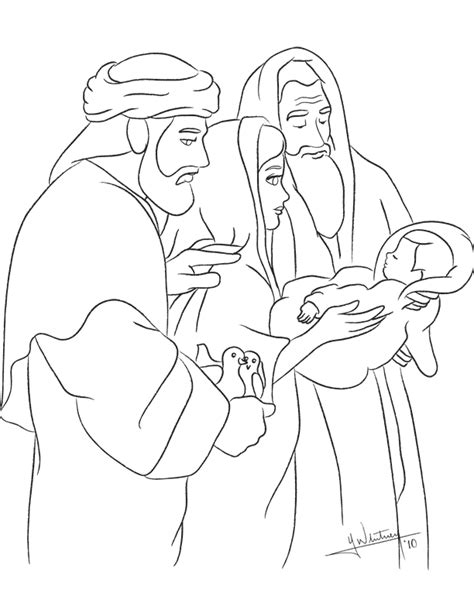 coloring pages baby jesus in the temple shepherds simeon and anna free colouring pages