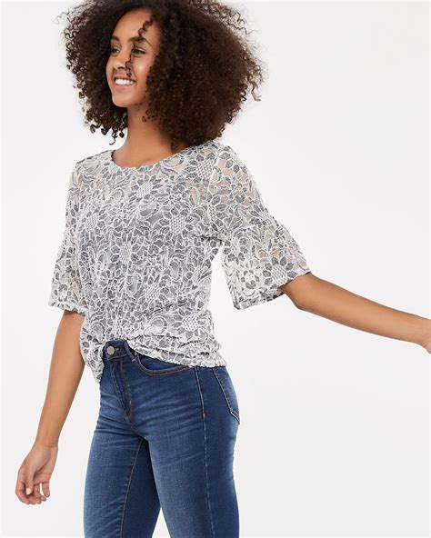 Two Tone Sleeve Top two tone lace flutter sleeve top regular reitmans