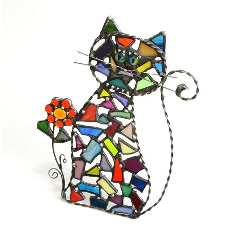 stained glass cat l stained glass cat suncatcher