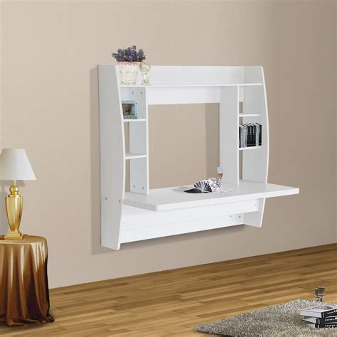 homcom floating desk wall mounted computer table  storage home furniture white ebay