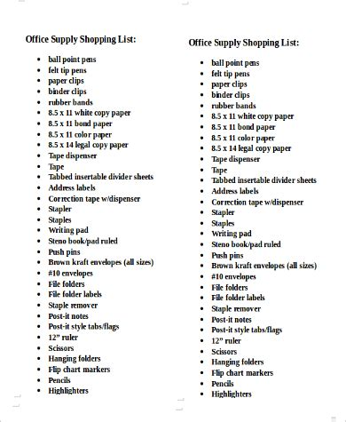 Printable Office Supply Shopping List | printable shopping list 10 exles in pdf word