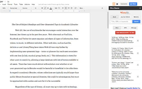 auto format apa style easybib bibliography creator google docs add on