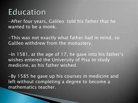 Galileo Galilei Education Biography | galileo galilei powerpoint 2
