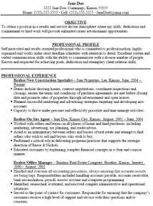 simple real estate resume with objective and