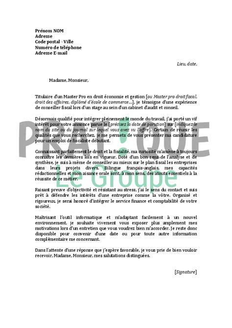 Lettre De Motivation Faisant Suite à Une Recommandation lettre de motivation pour un emploi de fiscaliste d 233 butant pratique fr