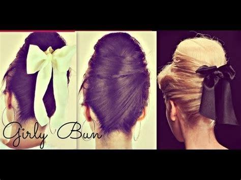 ★cute hair bun   school hairstyles for medium long hair