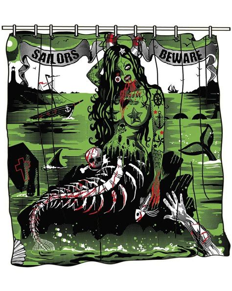 zombie shower curtain set zombie mermaid shower curtain so tinsel doodads